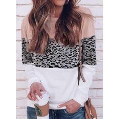 Bloque de color Leopardo Cuello redondo Manga Larga Casual Camisetas