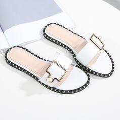 Dla kobiet PU Płaski Obcas Sandały Otwarty Nosek Buta Kapcie Z Imitacja Pereł obuwie