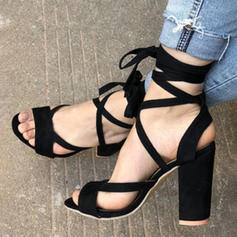 Women's Suede Stiletto Heel Sandals Pumps With Lace-up shoes