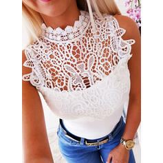 Solid Patchwork Lace Round Neck Sleeveless Casual Knit Blouses