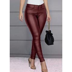 Einfarbig Shirred Übergröße Lange Elegant Sexy Leder Hosen