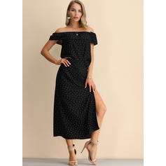 PolkaDot Short Sleeves A-line Little Black/Casual/Party Midi Dresses