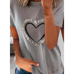 Cœur Imprimé Col Rond Manches Courtes T-shirts