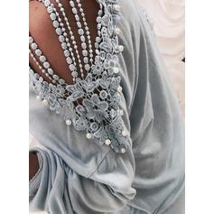 твердый кружевной Холодный прием Длинные рукова Повседневная Блузы