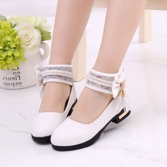 Girl's Leatherette Flat Heel Closed Toe Flower Girl Shoes With Bowknot Imitation Pearl Tassel