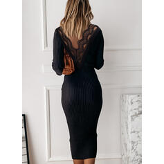 Lace/Solid/Backless Long Sleeves Bodycon Pencil Little Black/Casual/Elegant Midi Dresses
