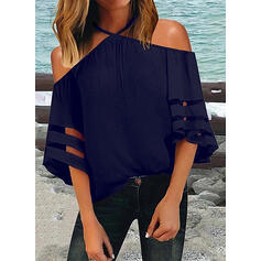 Solid Cold Shoulder 1/2 Sleeves Casual Sexy Blouses