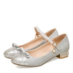 De mujer Cuero Tacón ancho Cerrados Mary Jane con Bowknot zapatos