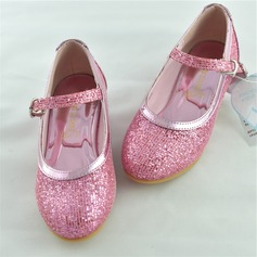 Fille de Glitter mousseux Low Heel Bout fermé Chaussures plates Chaussures de fille de fleur avec Pailletes scintillantes