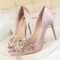 Women's Satin Stiletto Heel Pumps Closed Toe With Rhinestone Imitation Pearl shoes