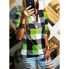 Plaid V-Neck Long Sleeves Casual Blouses