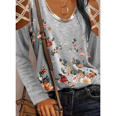 Print Bloemen Cold Shoulder Lange Mouwen Casual Overhemd