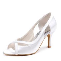 Women's Silk Like Satin Stiletto Heel Peep Toe Sandals