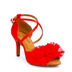 Latin Heels Sandals Satin With Buckle Hollow-out Flower Latin