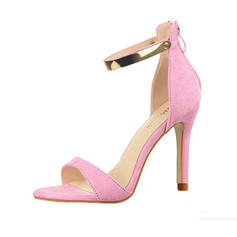 Women's Suede Stiletto Heel Sandals Pumps Peep Toe With Sequin Zipper shoes