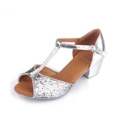 Kids' Latin Heels Sandals Leatherette With T-Strap Latin