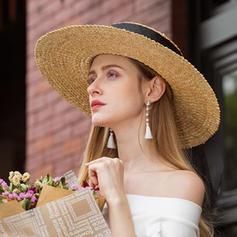 Dámské Oslnivý/Elegantní/Okouzlující Ratanové stéblo Čepice s odznakem/Plážové Klobouky/Kentucky Derby Klobouky