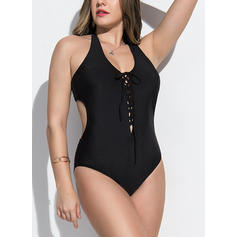 Jednobarevná Ohlávka Sexy Plus velikost Jednodílné Plavky