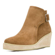 Women's Suede Wedge Heel Ankle Boots With Buckle shoes