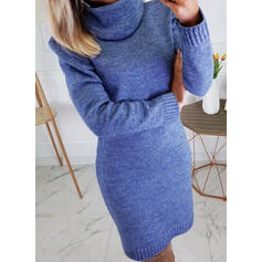 Solid Long Sleeves Bodycon Knee Length Casual Sweater/Pencil Dresses