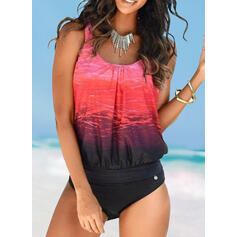 Splice color Strap U-Neck Sexy Sports Plus Size Boho Tankinis Swimsuits