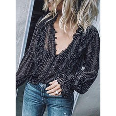 Print V Neck Long Sleeves Button Up Casual Sexy Blouses