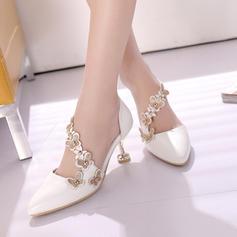 Women's Leatherette Stiletto Heel Pumps Closed Toe With Rivet Flower shoes