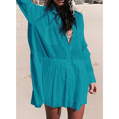 Solid Color V-Neck Bohemian Cover-ups Swimsuits