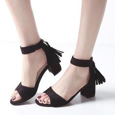 Dla kobiet Zamsz Obcas Slupek Sandały Otwarty Nosek Buta Z Zamek błyskawiczny Frędzle obuwie