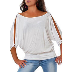 Solid Cold Shoulder 1/2 Sleeves Casual Plus Size T-shirts