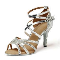 Dla kobiet Skóra ekologiczna Sparkling Glitter Obcasy Sandały Latynoska Buty do Tańca