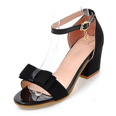 Women's Fabric Chunky Heel Sandals Pumps Peep Toe With Rhinestone Bowknot shoes