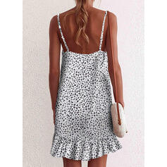 Print/Leopard Sleeveless Shift Above Knee Sexy/Casual Slip Dresses