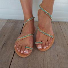 Femmes PU Talon plat Sandales Chaussures plates avec Brodé chaussures
