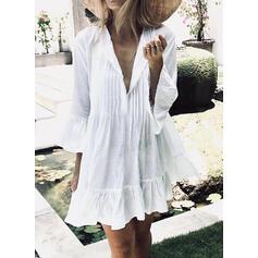 Solid Long Sleeves Shift Above Knee Little Black/Casual/Elegant Dresses