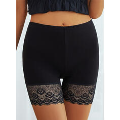 Solid Lace Above Knee Casual See-through Pants Shorts Leggings