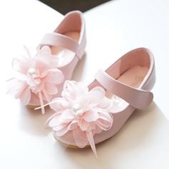 Muchacha Cuero de Microfibra Talón plano Encaje Punta Cerrada Planos Zapatos de niña de las flores con Velcro Flor