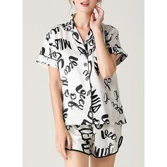 V-Neck Short Sleeves Print Casual Top & Short Sets