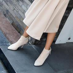 Frauen PU Stöckel Absatz Absatzschuhe Geschlossene Zehe Stiefelette mit Bowknot Zweiteiliger Stoff Schuhe
