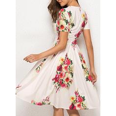 Print/Floral Short Sleeves A-line Knee Length Casual/Elegant/Boho/Vacation Dresses