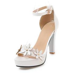 Női Műbőr Chunky sarok Szandál Emelvény -Val Virág cipő