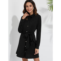 Solid Long Sleeves A-line Above Knee Little Black/Casual/Elegant Dresses