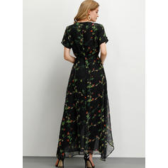 Print/Floral Short Sleeves A-line Casual/Party/Elegant Maxi Dresses