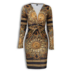Print Long Sleeves Bodycon Knee Length Casual Dresses