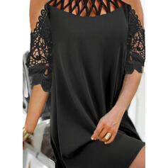 Encaje/Sólido/Agujereado Mangas 1/2 Tendencia Sobre la Rodilla Pequeños Negros/Elegante Vestidos