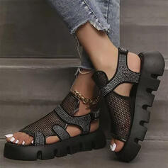 Women's Cloth Mesh Wedge Heel Sandals Platform Peep Toe Slingbacks With Rhinestone Hollow-out Velcro Solid Color shoes