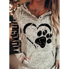 Animal Print Figure Heart Long Sleeves Hoodie