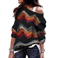 Striped One Shoulder Long Sleeves Casual Blouses