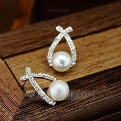 Hermoso Aleación Diamantes de imitación con Perlas de imitación Señoras' Pendientes de la manera