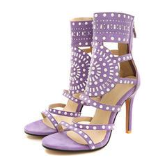 Femmes Suède Talon stiletto Sandales Escarpins avec Rivet Ouvertes chaussures